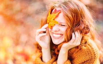 girl, mood, smile, autumn, red, hair, face, closed eyes, diana_drubig