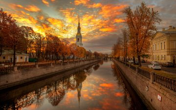 sunset, reflection, the city, autumn, channel, russia, saint petersburg, eduard gordeev