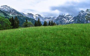 небо, трава, облака, горы, природа, пейзаж, луг, альпы