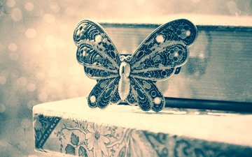 butterfly, decoration, brooch, beads