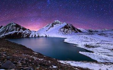 ночь, озеро, горы, природа, зима, пейзаж, звезды, fabio antenore