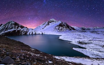 night, lake, mountains, nature, winter, landscape, stars, fabio antenore