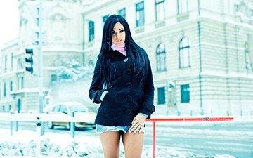зима, девушка, брюнетка, взгляд, улица, модель, волосы, лицо, эшли булгари