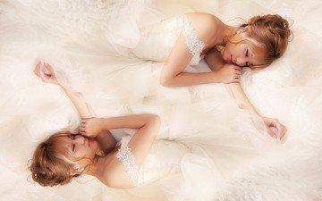 модель, азиатка, белое платье, невеста, фотосессия, закрытые глаза