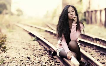 железная дорога, рельсы, стиль, девушка, взгляд, модель, волосы, лицо, азиатка