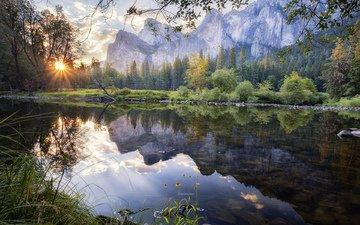 деревья, река, горы, природа, отражение, пейзаж, рассвет