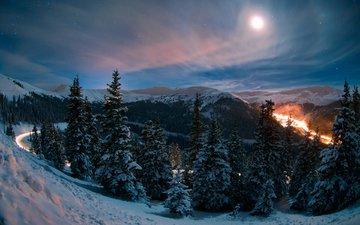 дорога, ночь, природа, лес, зима, колорадо, mike berenson