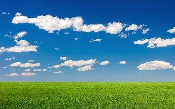 небо, облака, природа, пейзаж, поле, лето