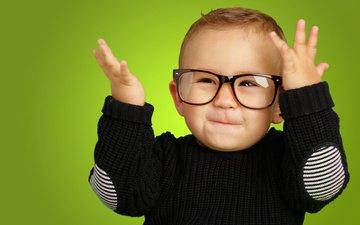 глаза, улыбка, очки, дети, ребенок, мальчик
