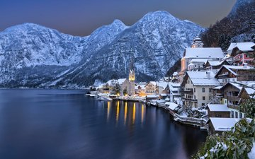 lake, mountains, winter, the city, austria, alps, hallstadt