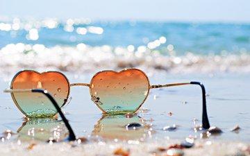 sea, sand, beach, glasses