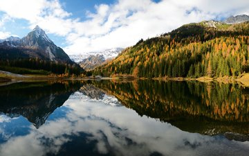 the sky, clouds, lake, mountains, nature, forest, reflection, landscape, autumn