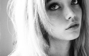 глаза, блондинка, чёрно-белое, модель, лицо, веснушки