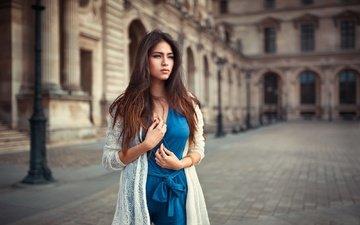 девушка, взгляд, модель, волосы, лицо, синее платье, lods franck, leana
