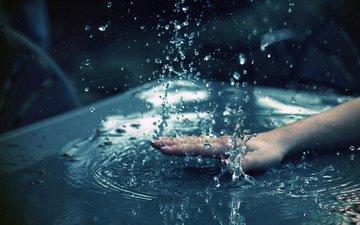 вода, рука, макро, капли, брызги