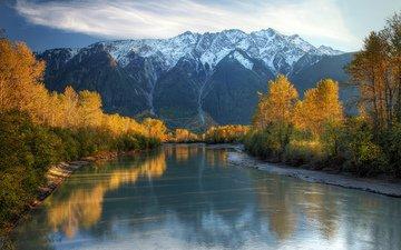 river, mountains, nature, forest, landscape, autumn