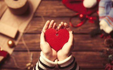 heart, love, hands