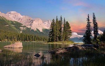 озеро, горы, остров, канада, национальный парк джаспер, maligne lake, остров спирит, озеро малинье