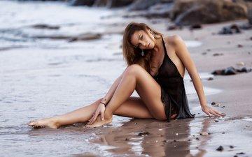 девушка, пляж, модель, шатенка