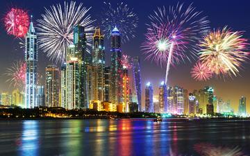 night, lights, the city, fireworks, dubai, uae