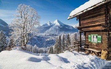 горы, природа, зима, пейзаж, домик