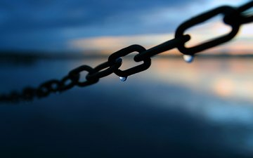 metal, macro, background, drops, chain