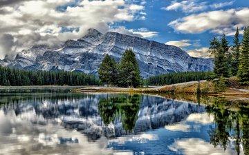 канада, провинция альберта, национальный парк банф, гора рандл, vermillion lakes, озёра вермилион