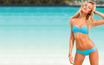 girl, sea, pose, blonde, beach, look, model, hair, face, bikini, candice swanepoel