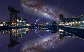 night, lights, reflection, stars, bridge, the city, paul stewart