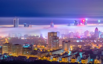 night, lights, fog, the city, china, qingdao