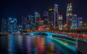 night, lights, bridge, the city, singapore, senthil kumar damodaran