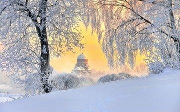 деревья, снег, природа, храм, зима, пейзаж, ветки, иней, россия, санкт-петербург