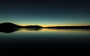 the sky, lake, hills, nature, sunset, reflection, landscape, morning, oregon