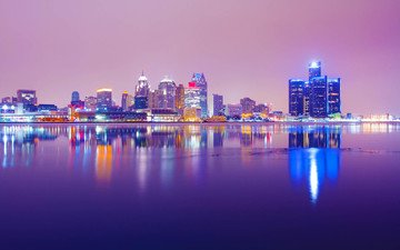 night, lights, reflection, the city, usa, detroit, michigan, david bonyun
