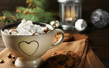 drink, coffee, mug, cookies, marshmallows, cocoa, hot chocolate