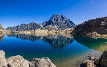 the sky, lake, mountains, nature, reflection
