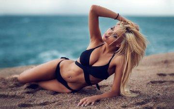 девушка, море, поза, блондинка, песок, пляж, модель, дэвид mas