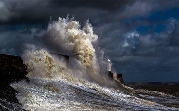 природа, пейзаж, море, маяк, волна, океан, шторм