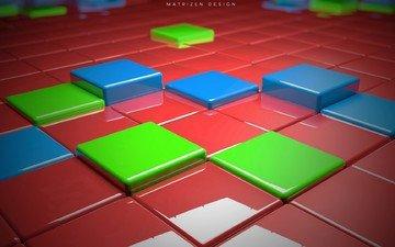 cubes, render, 3d