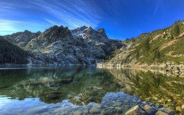 the sky, lake, mountains, nature, landscape