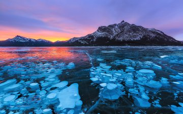 lake, mountains, sunset, winter, landscape, ice