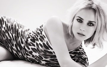girl, blonde, look, black and white, hair, face, actress, makeup, diane kruger, bare shoulder