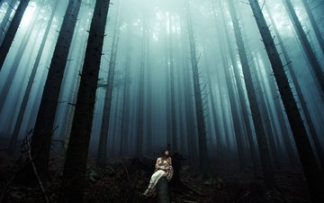 night, trees, forest, girl, dress, trunks, log, davide lopresti
