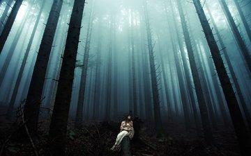 ночь, деревья, лес, девушка, платье, стволы, бревно, davide lopresti