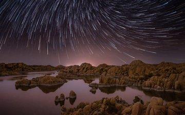 ночь, озеро, природа, камни, пейзаж, звезды