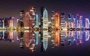 night, lights, reflection, the city, qatar, doha