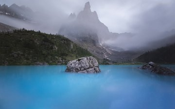lake, mountains, nature, forest, landscape, fog, peter holly