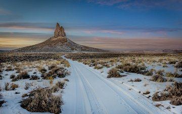 небо, облака, природа, зима, пейзаж, скала, пустыня, каньон