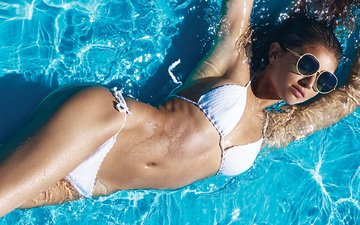 water, girl, glasses, model, pool, bikini, brown hair, daniela lopez osorio