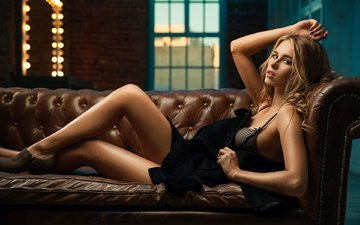 girl, blonde, look, model, legs, hair, face, sofa, long hair